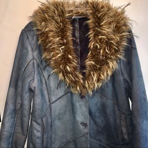 Vintage Blue Coat with Faux Fur Lapel